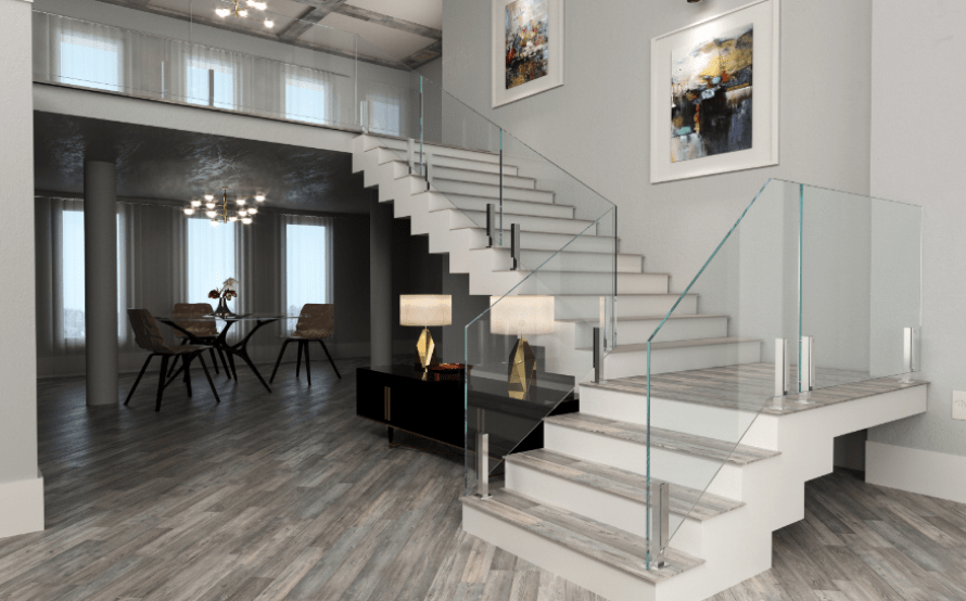 Glass Staircase Railing System Glass Stair Railng | Glass Handrails For Stairs | Wood | Frameless | Outside | Standoff | Residential