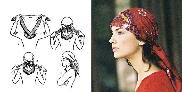 손수건을 아름답게 묶는 28 가지 방법, 사진 번호 5