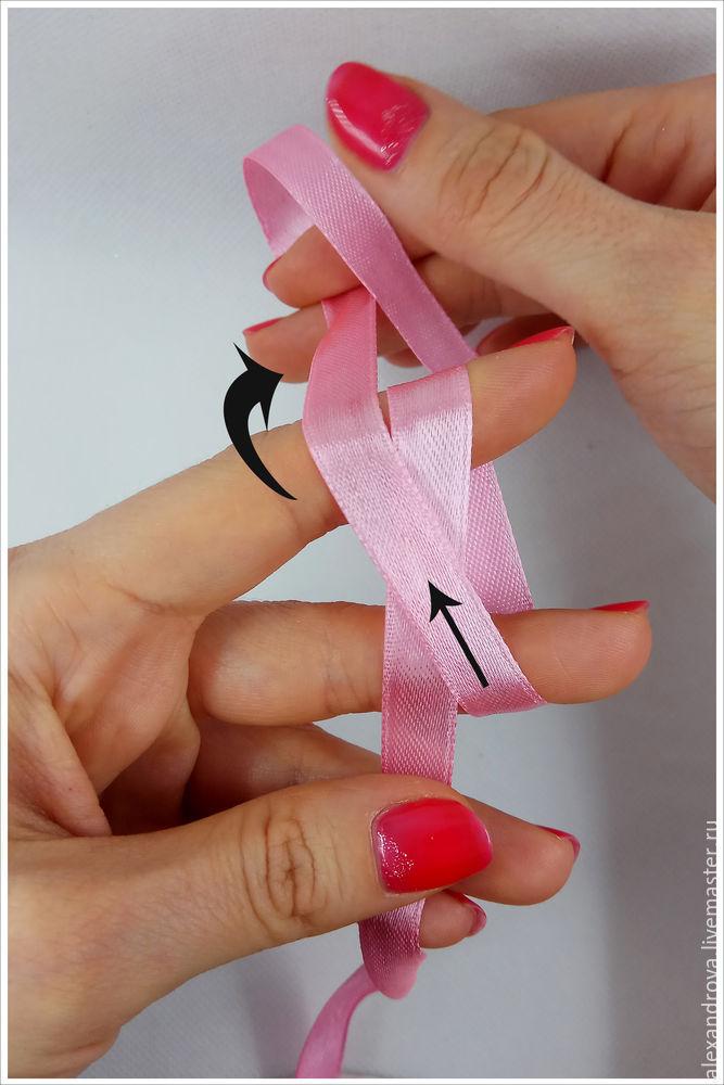 サテンリボンの弓、写真番号5の弓をどのくらい美しく穏やかに結び付けるか