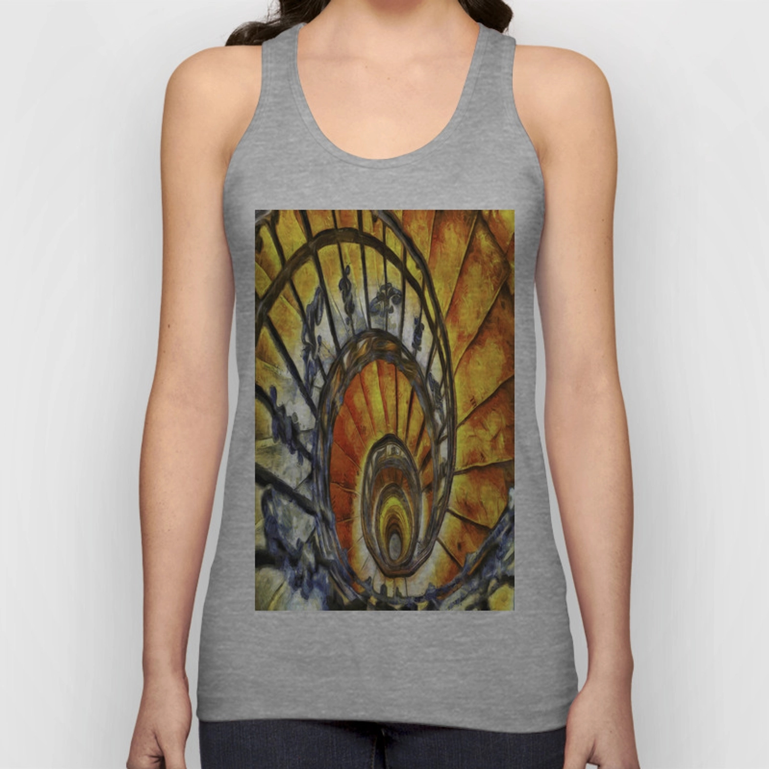 Spiral Staircase Van Gogh Unisex Tank Top By Davidpyatt Society6   Spiral Staircase Design For Tanks   Wrought Iron   Architecture   Handrail   Steel   Stair Railing