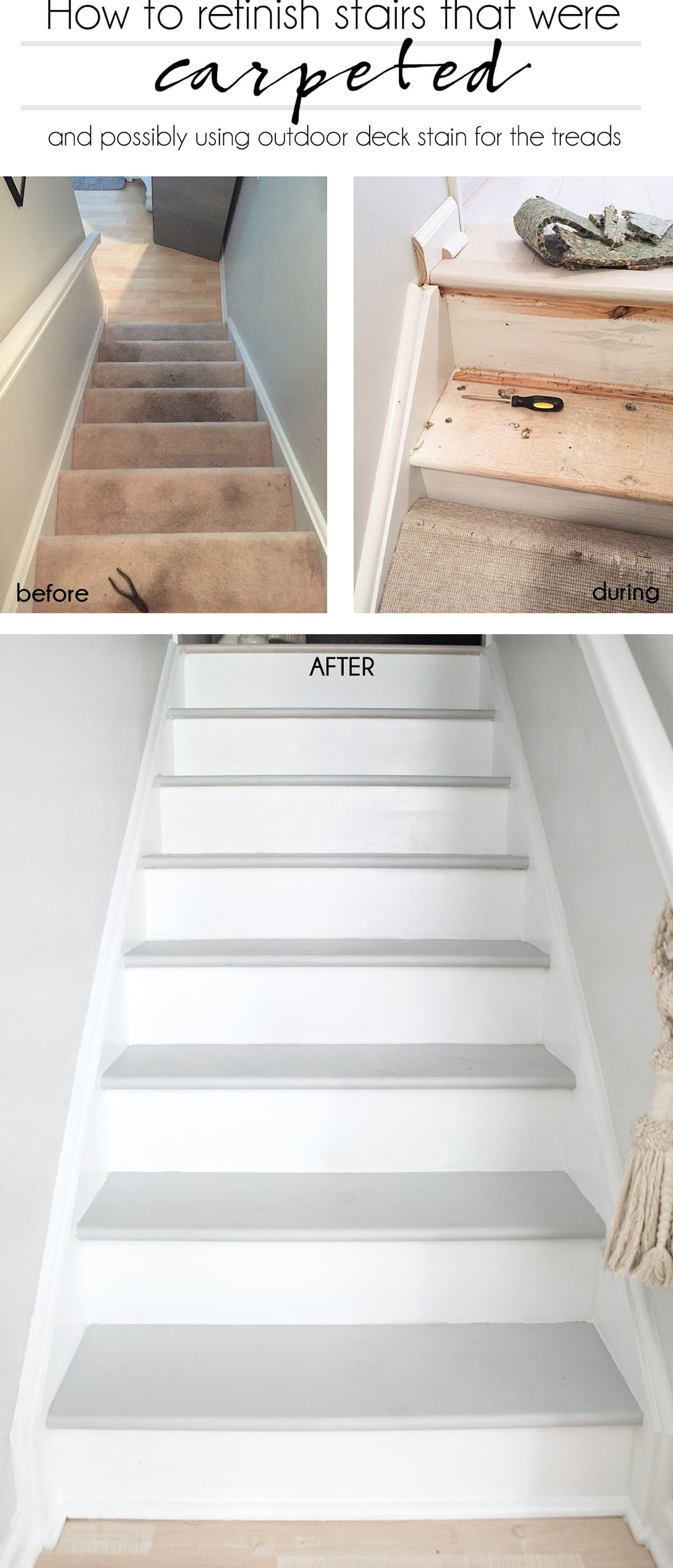 How To Refinish Stairs That Were Carpeted Cuckoo4Design | Redoing Carpeted Stairs To Wood | Hardwood Floors | Stair Tread | Stair Risers | Stair Case | Staircase Remodel