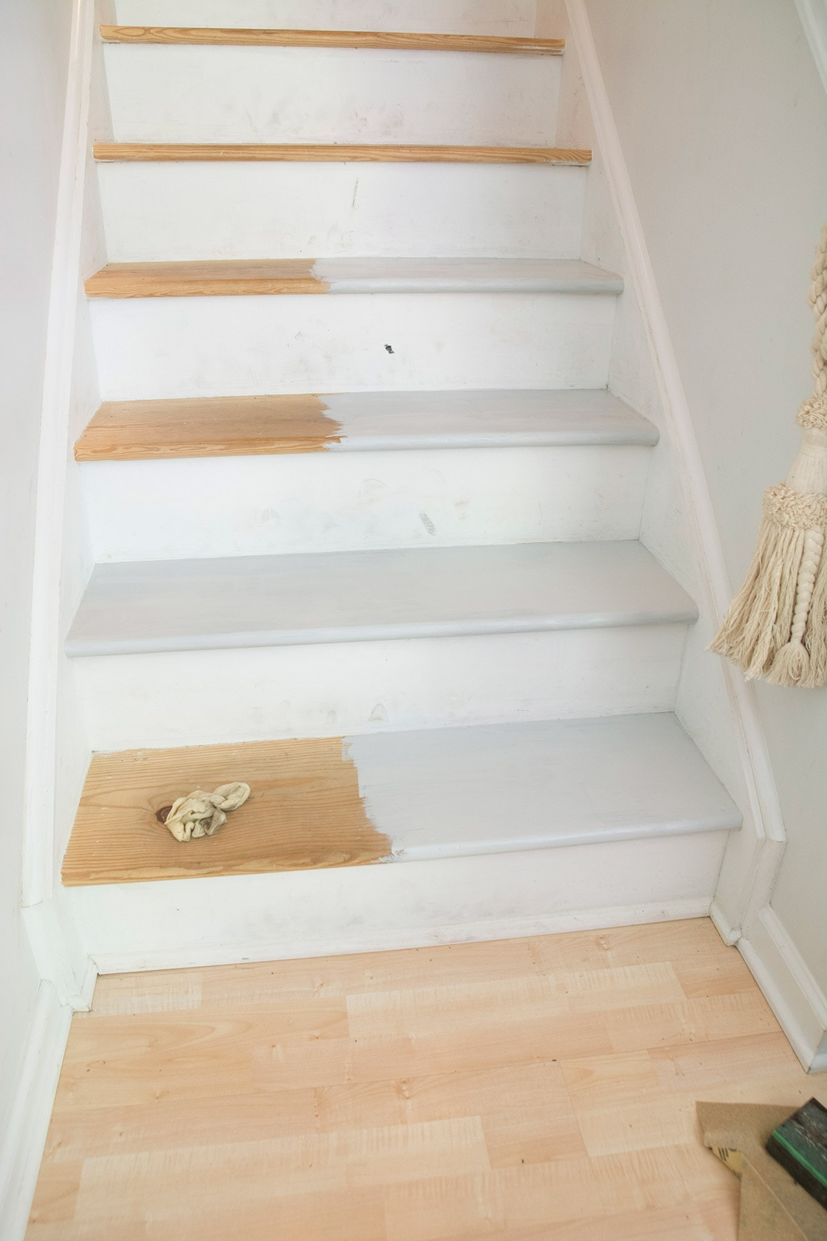 How To Refinish Stairs That Were Carpeted Cuckoo4Design | Painted And Stained Stairs | Easy Diy | Two Tone | Espresso Stained | Pinterest | Home