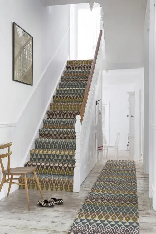 35 Stunning Stair Carpet Runner Ideas For Safety And Beauty   Different Carpet On Stairs To Landing   Des Kelly   Striped Carpet   Wood   Grey Carpet   Flooring