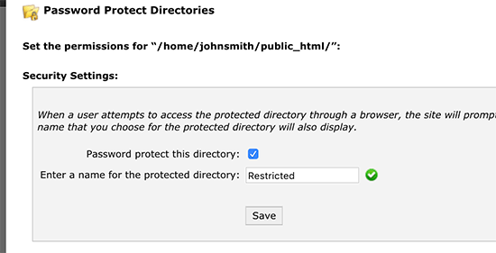 Enter a name for protected directory
