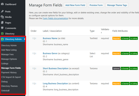 Manage Form Fields in Business Directory Plugin