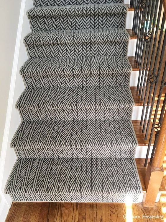 9 Flooring And Design Trends For 2019 Cunningham Flooring Direct | Zig Zag Carpet On Stairs | Mohawk Patterned Carpet | Stair Triangular Landing | Before And After | American Style | Silver Grey