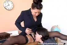 Licked teacher's hairy pussy