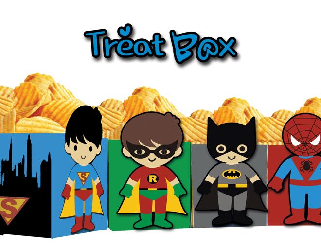 Superhero Kids Popcorn Treat Box Instant Download