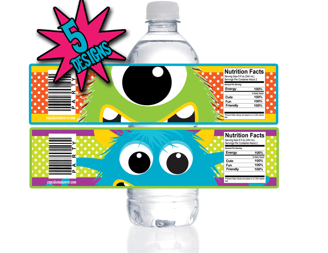 Little Monster Water Bottle Labels Instant Download