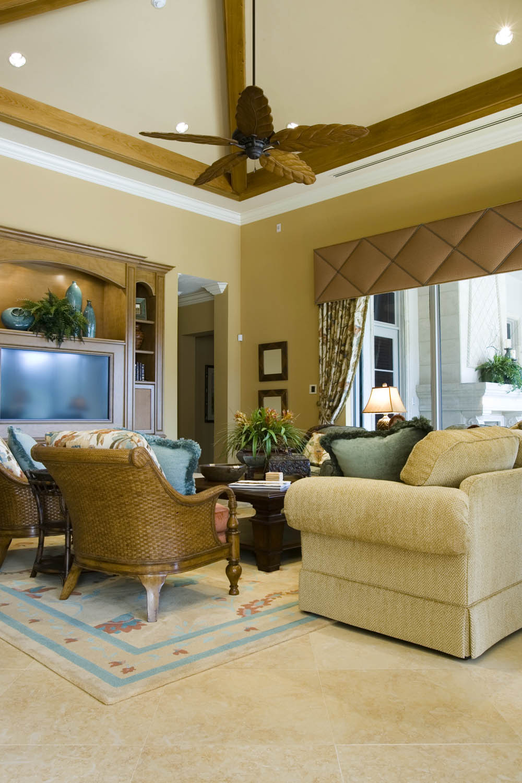 Quilted Golden Cornice Window Treatment Interior Design