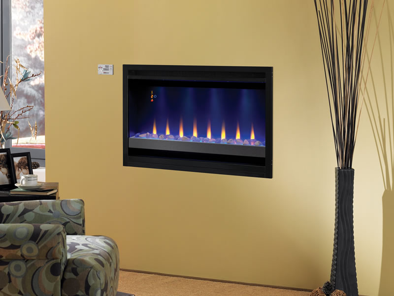 Used Electric Fireplace Inserts On Custom Fireplace