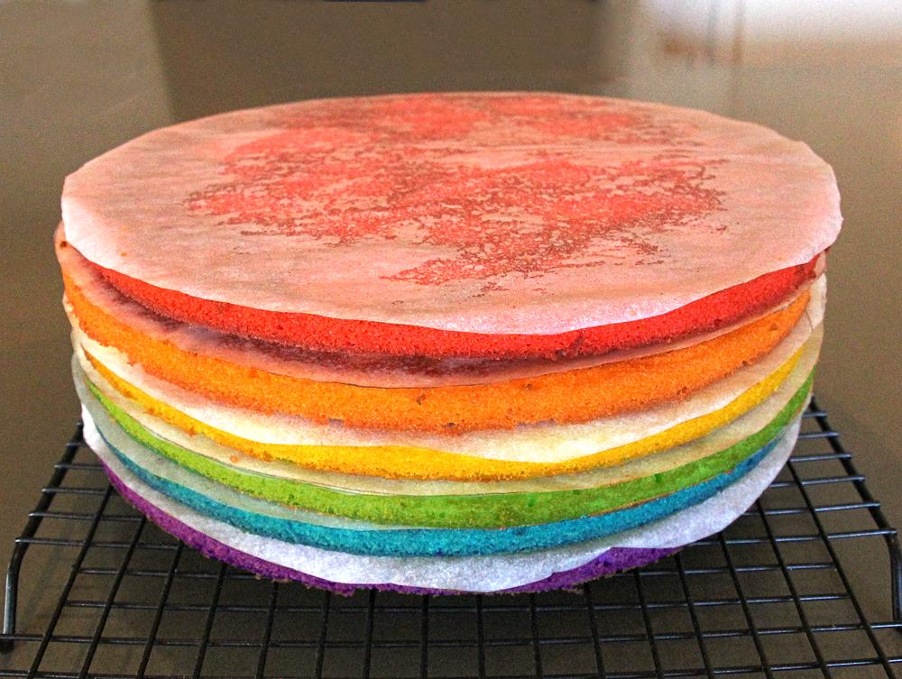 How To Make A Rainbow Layer Cake Using White Chocolate Mud