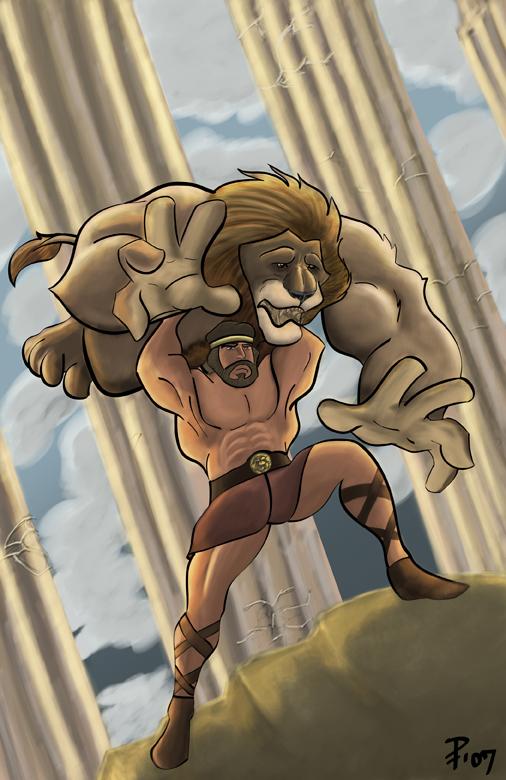 hercules vs nemean lion - 506×780