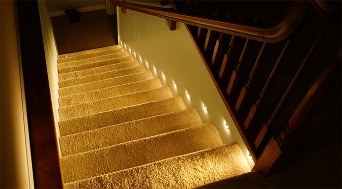 How To Install Motion Sensor Led Stair Lights Super Bright Leds   Lighted Handrails For Stairs   Wood Hand Rail Design   Antique   Brushed Nickel   Modern   Acrylic
