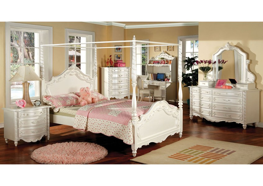 5th Avenue Furniture   MI Victoria Pearl White Twin Canopy Bed Victoria Pearl White Twin Canopy Bed Furniture of America