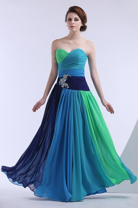Long Blue And Green Formal Prom Gown On Storenvy