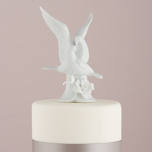 Glazed Porcelain Doves and Flower Cake Topper   The Knot Shop Glazed Porcelain Doves And Flower Cake Topper
