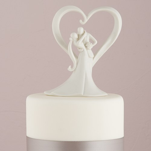 Stylish White Porcelain Cake Toppers   The Knot Shop Stylish Embrace Cake Topper