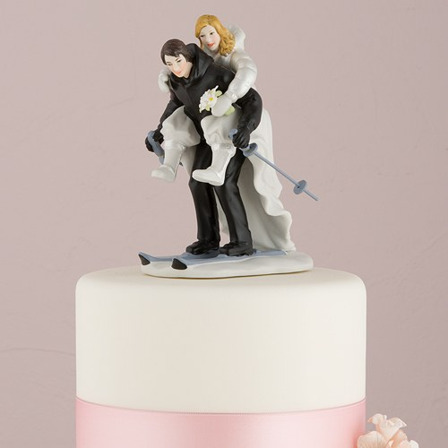Skiing Wedding Cake Topper   The Knot Shop Winter Skiing Porcelain Wedding Cake Topper