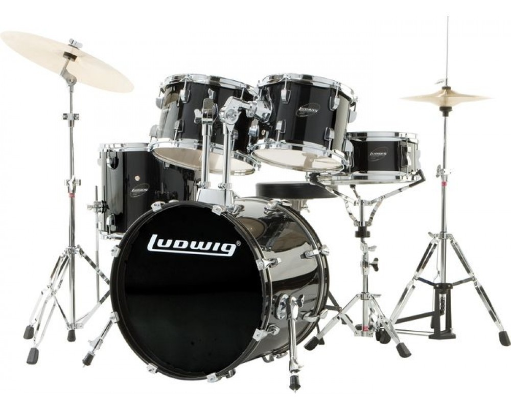 Ludwig Junior Outfit Drum Set Black   Blingby Ludwig Junior Outfit Drum Set Black