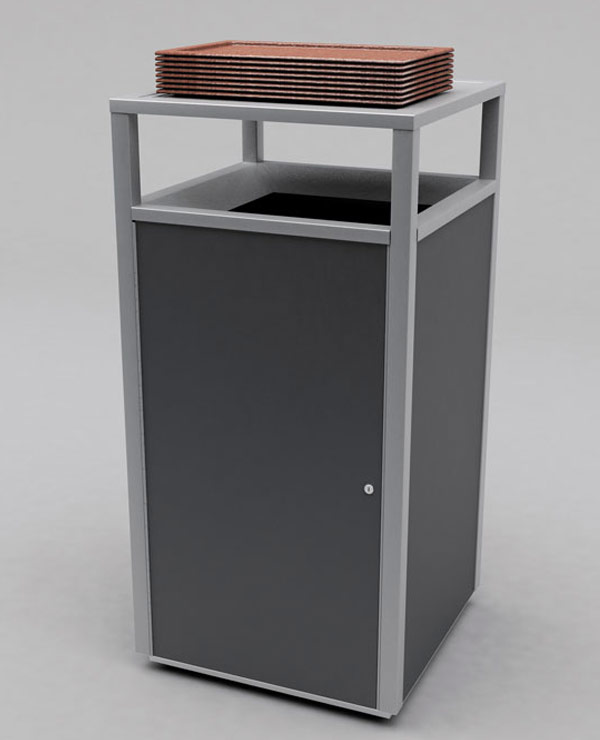Cafeteria Trash Receptacles Wooden