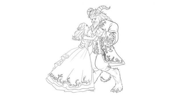 beauty and the beast coloring page # 4