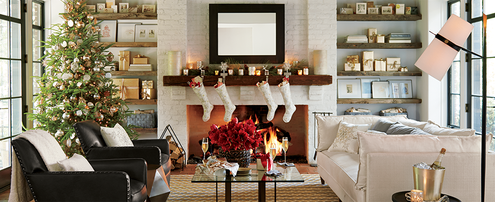 How to Decorate Your Home for Christmas   Crate and Barrel Living Room Decorated for Christmas