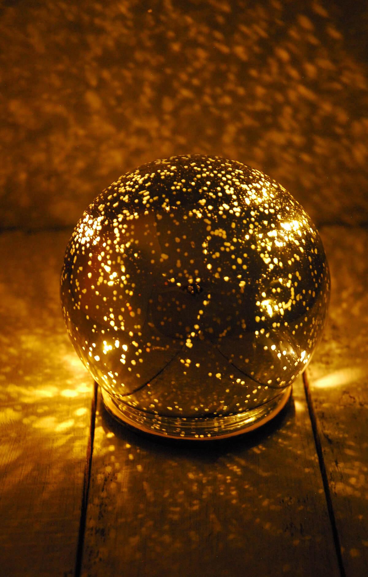 Led Orb Light Mercury Glass Silver 4 75in