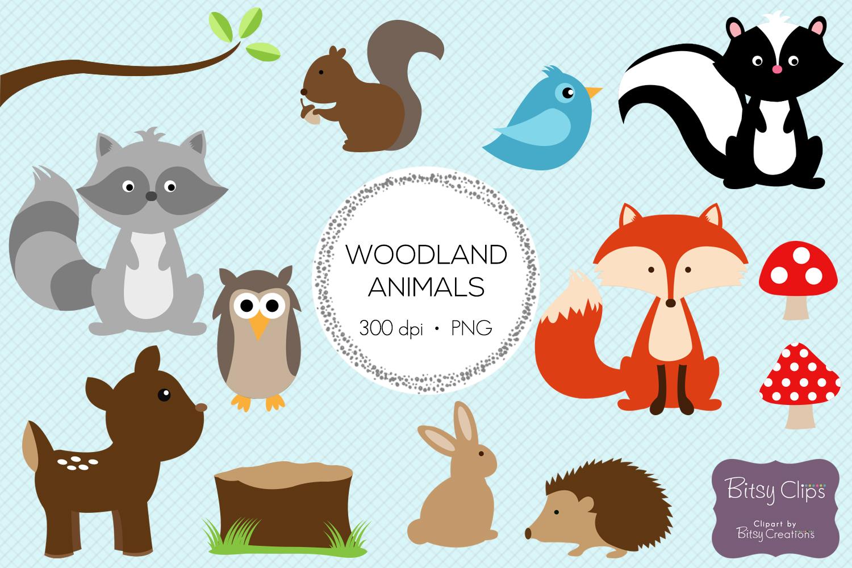 Woodland Animals Digital Art Set Clipar   Design Bundles