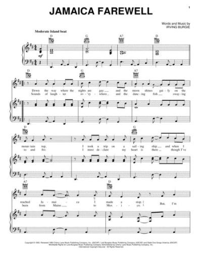Download Jamaica Farewell Sheet Music By Irving Burgie ...