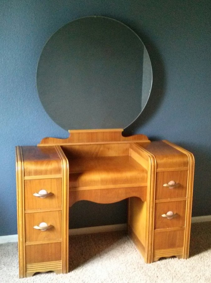 1930s Waterfall Vanity With Original Mirror And Bench My