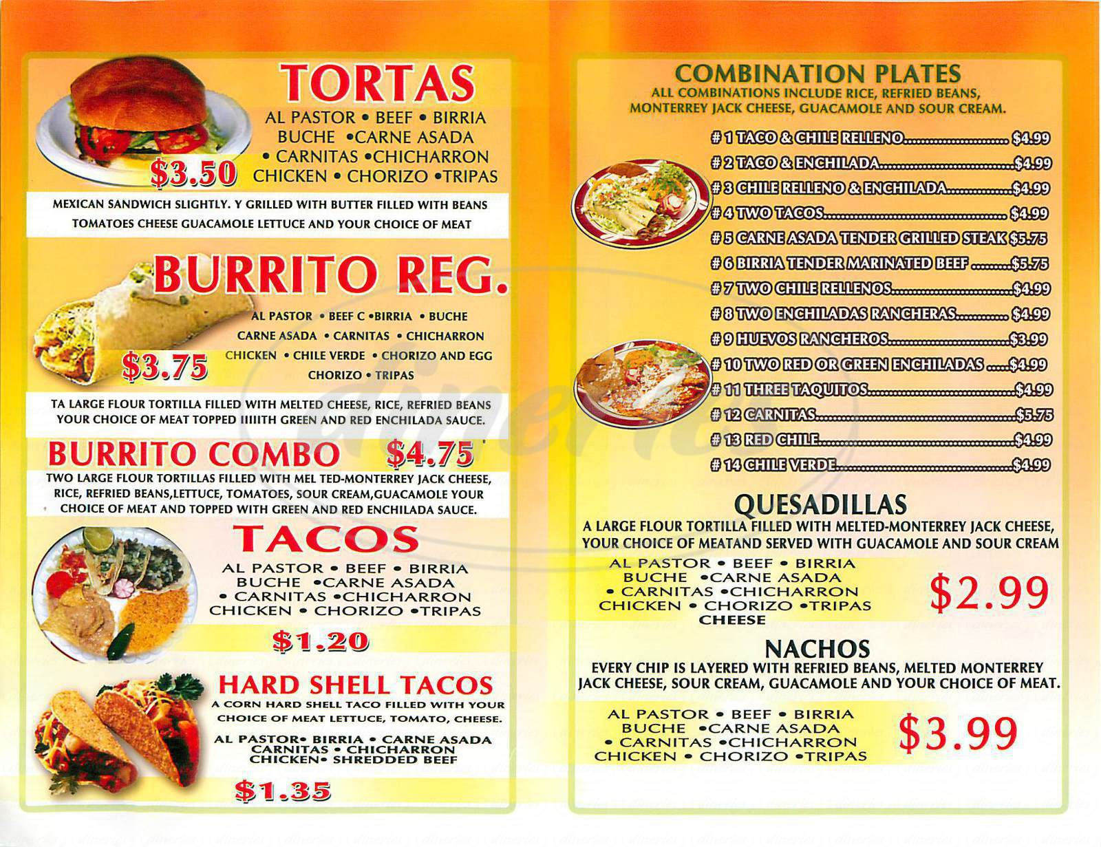 Menu Restaurant Ideas Mexican