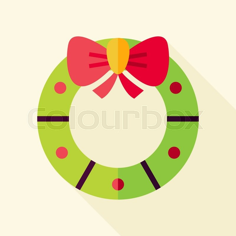 Christmas Wreath Icon  Flat Design Vector Illustration with Long     Christmas Wreath Icon  Flat Design Vector Illustration with Long Shadow   Merry Christmas and Happy New Year Symbol    Stock Vector   Colourbox