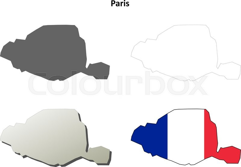 Paris  Ile de France blank detailed outline map set   Stock Vector     Stock vector of  Paris  Ile de France blank detailed outline map set