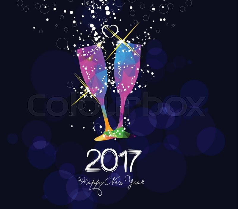 Happy new year 2017 greeting card or poster design with colorful     Happy new year 2017 greeting card or poster design with colorful triangle  glass   Stock Vector   Colourbox