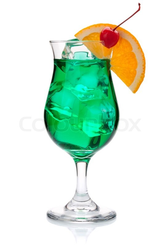 Green Tropical Cocktail With Orange And Maraschino Stock