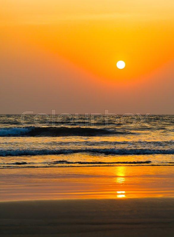 Vertical Vivid Orange Golden Sunset On Stock Image