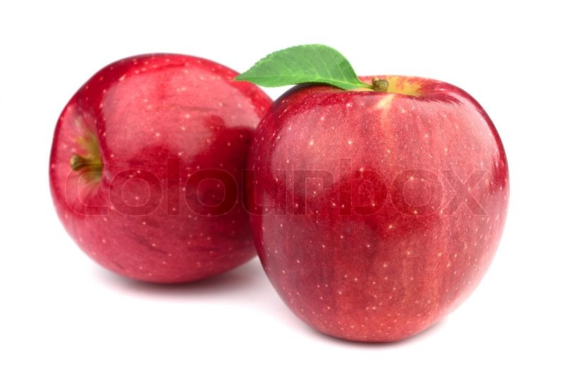 Fresh Apples With Leaves Stock Photo Colourbox