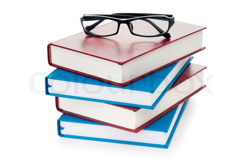 Reading Glasses With Books Isolated On The White Stock