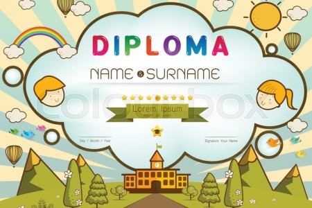 Certificate kids diploma  kindergarten template layout background     Certificate kids diploma  kindergarten template layout background frame  design Vector illustration  Preschool Elementary school Kids Diploma  certificate