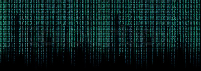 Blue Binary Code Matrix Background Wide Stock Image
