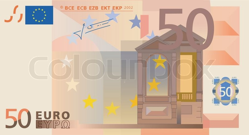 Vector Drawing Of A 3x 50 Euro Bills Isolated Stock