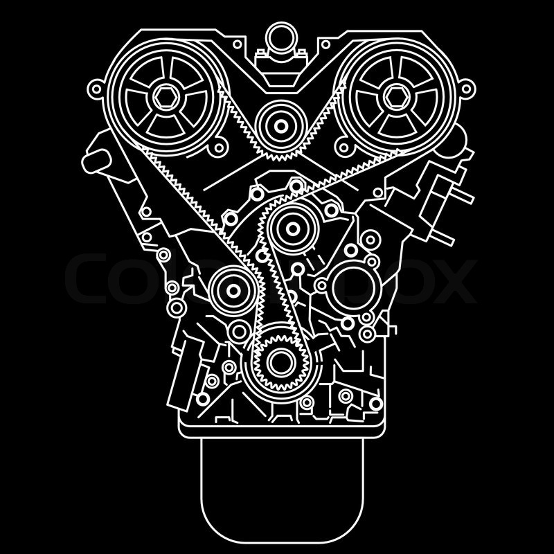 Racing Engine Front View Stock Vector Colourbox