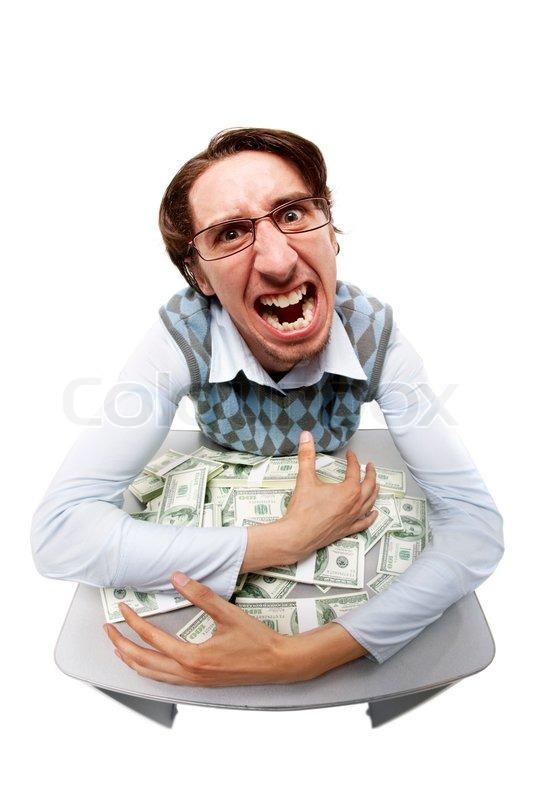 Portrait Of A Greedy Man Hiding His Money Stock Photo