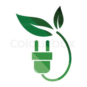 Save Energy symbol of electricity plug and green leaf for power     Electric plug leaves icon