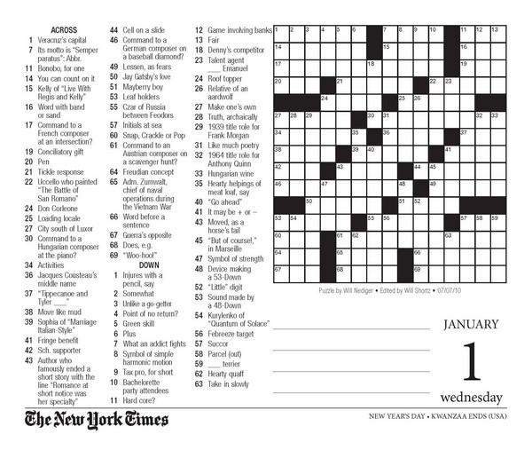 1007 York Times Crossword New