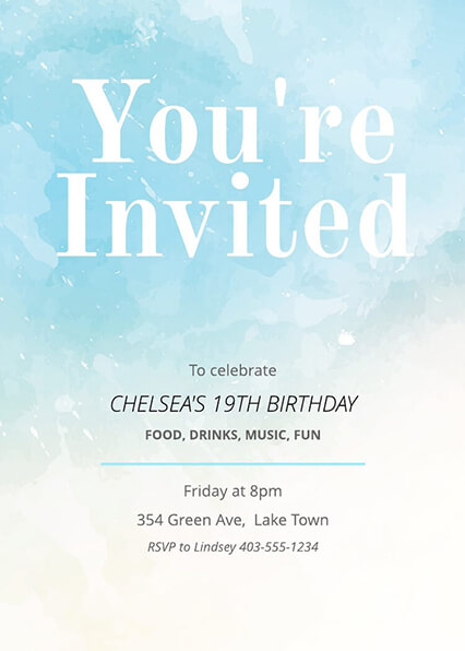 16 Free Invitation Card Templates   Examples   Lucidpress Painted Birthday Invitation Template