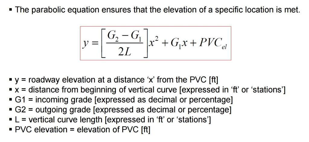Parabolic Vertical Curve Equation