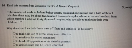 Solved  16  Read This Excerpt From Jonathan Swift s A Mode     Read this excerpt from Jonathan Swifts A Modest Proposal   l point