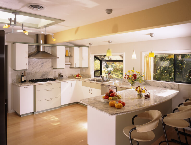 23 Gorgeous G Shaped Kitchen Designs  IMAGES  This G shaped kitchen boasts granite countertops  a skylight  and expansive  hardwood flooring